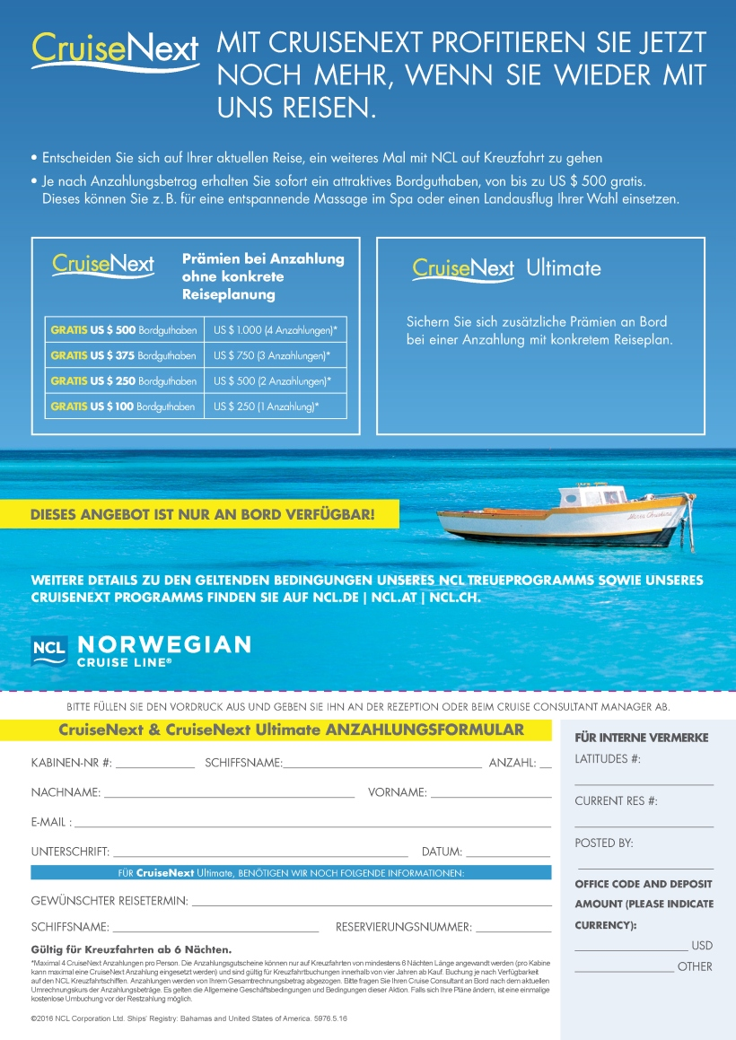 CruiseNext Flyers NEW BRAND German
